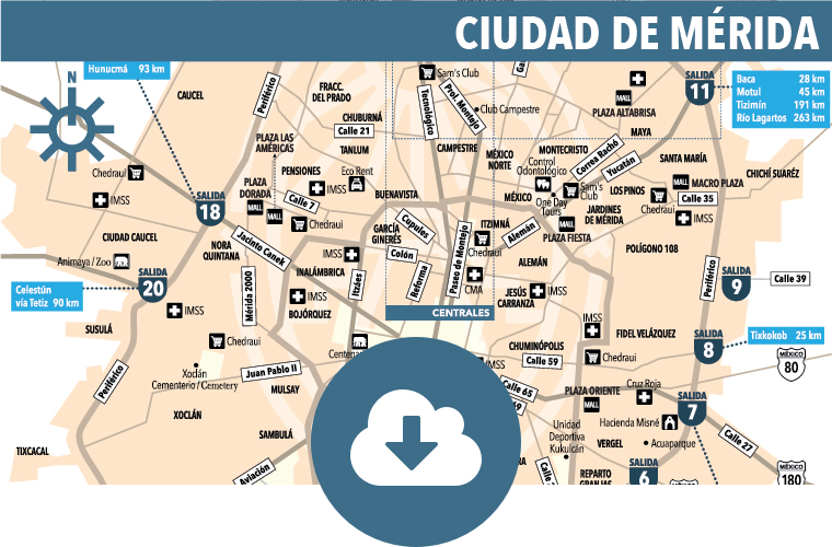 Mrida City Map Yucatan Today