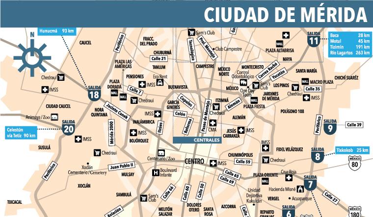 Mapa de la Ciudad de Mrida  Yucatan Today